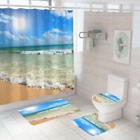 Seaside Bathroom Rug Set Shower Curtain Thick Bath Mat Non-Slip Toilet Lid Cover