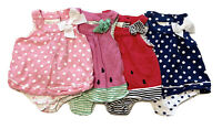 First Impressions 6-9M Lot of 4 Baby Girl Romper Watermelon Pink Bow Polka Dot