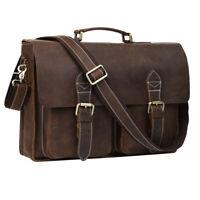 Vintage Style Men's Real Leather 15.6'' Laptop Briefcase Shoulder Bag Handbag