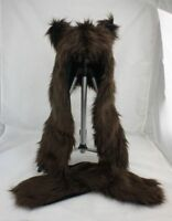 Faux Fur Full Brown Bear Animal Hood Hat with Scarfs Mittens Paws Spirit 3 in 1