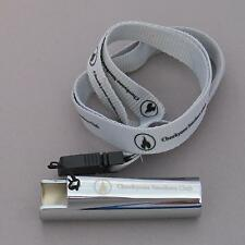 Cheeky One Smokers Club Silver / Chrome Metal Clipper Lighter Holder & Lanyard
