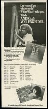 1985 Andreas Vollenweider photo White Winds album release vintage print ad