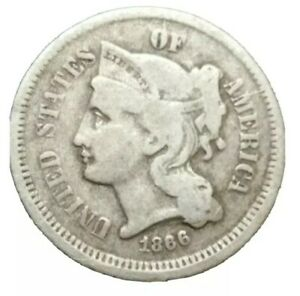 1866 US End of Civil War Era 3 cent Nickel Three Cent threecent Old Coin