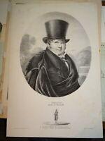 GRANDE Litho PORTRAIT HOMME PHILIPPE COMEDIEN THEATRE VAUDEVILLE ROMANTISME 1830