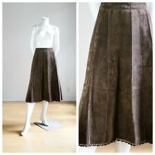 Vintage 70s Style Brown Suede and Crochet High Waist Midi Skirt