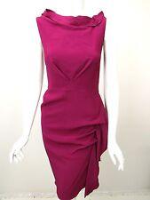 RM ROLAND MOURET Raspberry Crepe Standing Bateau Neck Gathered Dress UK 10 US 6
