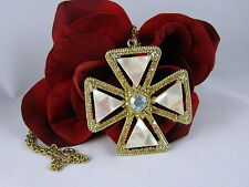 Vintage Mother of Pearl Ab Rhinestone Maltese Cross Necklace Cat Rescue