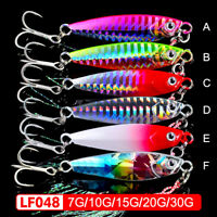 6pcs Metal Fishing Lure Jigs Lead Baits Treble & Jig Hooks Offshores Jig Lures