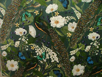 Pavone Farfalle Uccelli Botanico Tenda Fodera Cuscino Velluto Tessuto