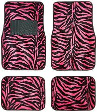 New 4pc Safari Zebra Tiger Hot Pink Print Car Truck Front Back Carpet Floor Mats
