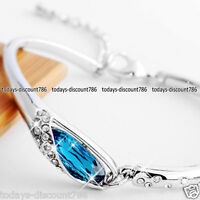 Blue Tear Crystal Diamond Bracelet Love Wife Daughter Mum Mother Gifts For Her