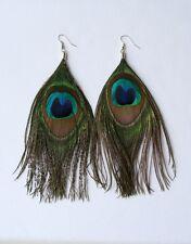 "Genuine Peacock Feather Earrings 6"" Long - Boho/Hippy/Ethnic Style"