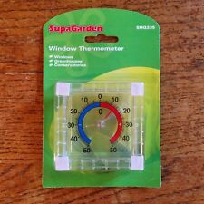 SUPAGARDEN WINDOW THERMOMETER FOR WINDOWS GREENHOUSES, CONSERVATORIES
