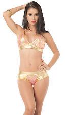 2075 Gogo Rave Pink Metallic Gold Bikini Exotic Dance Lingerie Club wear S M L