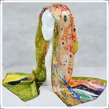"""Oblong 100% Charmeuse Silk Scarf  Wrap Art Oil Painting Gustav Klimt's """"Hope"""""""