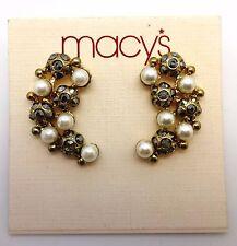 MACY'S Goldtone Cluster Post Earrings W Metallic Silver Crystals & Pearl Stones