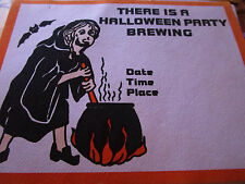 Vtg 1960's HALLOWEEN Paper Invite Invitation UNUSED/Envelope PARTY BREWING WITCH