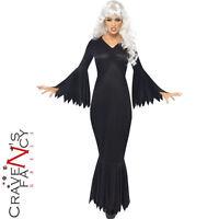 Adult Midnight Vamp Costume Sexy Ladies Halloween Vampire Morticia Fancy Dress