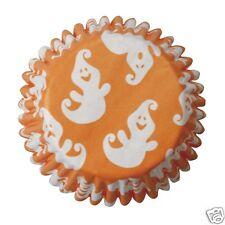 54 De Alta Calidad Halloween Cupcake Muffin casos-Naranja Con Blanco Casper Ghosts