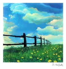 """DAVID NAJAR """"FENCE LINE"""" SERIOLITHOGRAPH~PARK WEST GALLERY~FREE SHIPPING"""