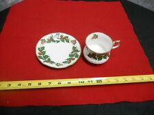 "Rosina Christmas Holly Leaf & Berry Teacup and Saucer ""Yuletide"""