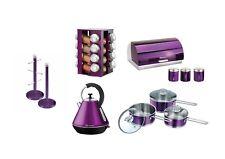 Set of:Saucepan set,Kettle, Bread bin, 3 Canisters, Spice Rack & Mug tree Purple