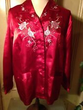 Vintage Asian Red Silk Pajamas With Embroidered Flowers