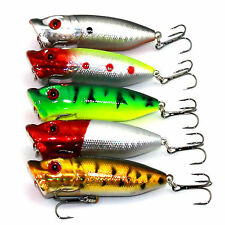Lot of 5PCS Topwater Popper  Freshwater Fishing Lures Bass Bait Tackle hook rf