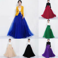 Hot Retro Women Double Layer Chiffon Pleated Long Maxi Dress Elastic Waist Skirt
