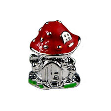 Silver Plated Fairy Toadstool House Spacer Charm European Charm Bracelets