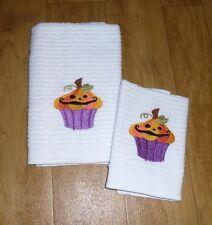 Embroidered HALLOWEEN Cupcake Kitchen Dish Towel & Dish Cloth white  Free ship