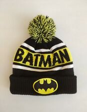 DC COMICS Batman Ski Hat Black & Yellow Pom Pom Knit WINTER Cap BEANIE GOTHAM