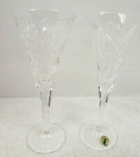 2 Waterford Millenium Crystal Happiness & Prosperity Champagne Toasting Flutes