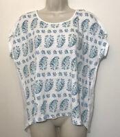 J.Jill Love Linen Small Shirt White & Blue Short Dolman Sleeve Relaxed Fit Top