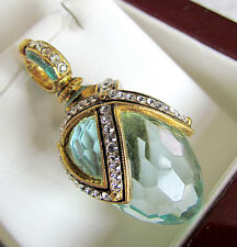 SALE ! GORGEOUS  RUSSIAN STERLING SILVER 24K GOLD AQUAMARINE EGG PENDANT