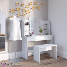 Vicco table de toilette Charlotte 142x108cm Blanc Coiffeuse Commode Banc Miroir
