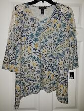 $56 NWT Style & Co. Floral Garden Print Womens Lattice Blouse Top Plus Size 0X