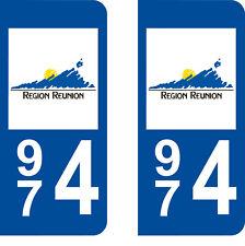 Département 974 sticker 2 autocollants style immatriculation AUTO PLAQUE