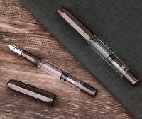 Moonman T1 Brass Piston Fountain Pen, Transparent Acrylic EF/F/M/Bent Gift Pen