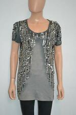 Costume National C'N'C Grey Cotton/Modal Silver Sequin Top/T-Shirt Size M