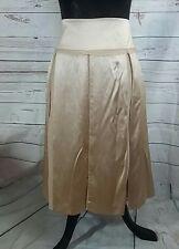 Inwear Womens Skirt UK12 Gold Blended Silk Soft Pleats Floaty Party Wedding