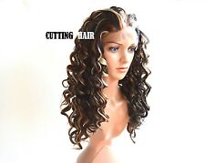 SKIN Top Deep Invisible Lace Front Wig GLUELESS Long Curly Blonde Brown Mix L22