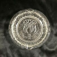"Vintage Clear Glass 6"" Ashtray with Floral Print"