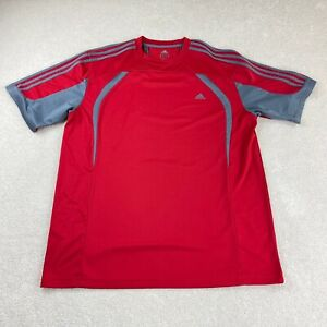 Adidas Climacool Activewear Men's 2XL Red/Gray Short Sleeve Athleisure Logo
