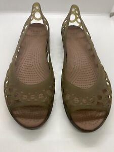 Crocs Womens Adrina Open Toe Slip On Flat Shoes Dark Green Sz US 10 W