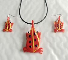color frog Lampwork murano glass necklace earring set pendant 2018 Colourfull