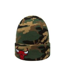 New Era NBA Chicago Bulls Woodland Camouflage Skull Cap Cuff Fitted Beanie  Hat f319790340a2