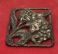 Vintage Sterling Silver Brooch Pin 925 Flower Art Nouveau Rectangle 13 Grams