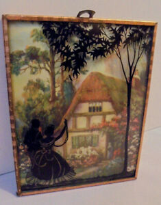 Silhouette Picture, W.M. Thompson Print, Cottage, Flowers, Lady, Framed, 1940s
