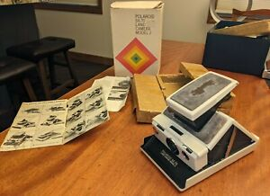 1970s VINTAGE POLAROID SX-70 LAND CAMERA MODEL 2 W/ BOX, PAPERS, WHITE (IVORY)